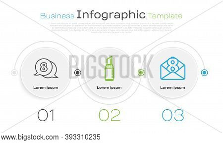 Set Line 8 March In Speech Bubble, Lipstick And Envelope With 8 March. Business Infographic Template