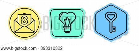 Set Line Envelope With 8 March, Heart Shape In A Light Bulb And Key In Heart Shape. Colored Shapes.