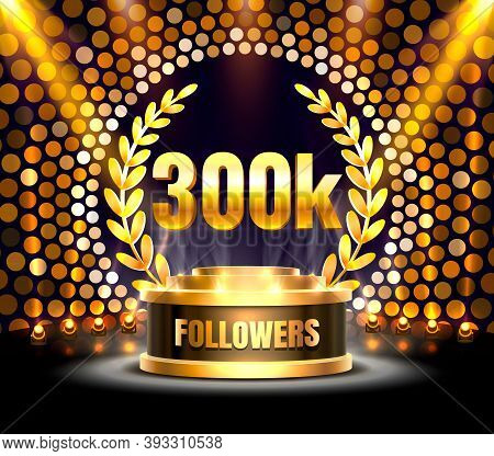 Thank You Followers Peoples, 300k Online Social Group, Happy Banner Celebrate, Vector