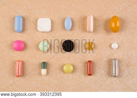 Various Colorful Pills, Capsules And Tablets, Flat Lay. Vitamins, Perscription Drugs, Painkillers, N