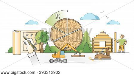 Forestry Resources As Forest Tree Wood Material Cutting Outline Concept. Carpentry Planks Production