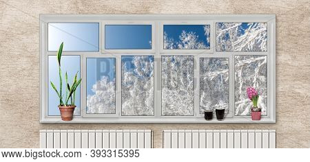 Large Plastic Window In The Apartment Overlooking The Winter Trees. Modern Design, Interior. The Con