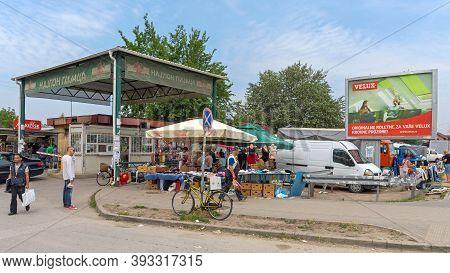 Novi Sad, Serbia - June 2, 2018: Entrance To Famous Najlon Pijaca Big Flea Market In Novi Sad, Serbi