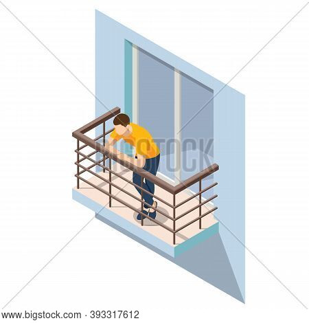 Isometric Man Resting On An Open Balcony In Summer. Open Outdoor Balcony With Metal Silver Railings