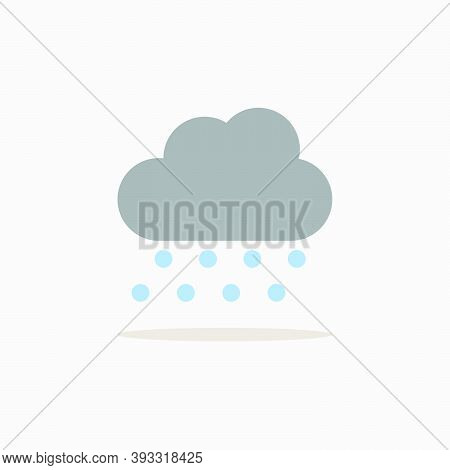 Hail And Cloud. Color Icon With Shadow. Weather Glyph Vector Illustration