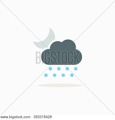 Hail, Cloud And Moon. Color Icon With Shadow. Weather Glyph Vector Illustration