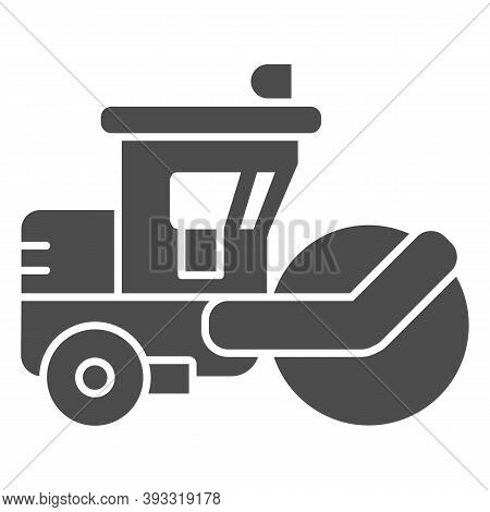 Asphalt Roller Solid Icon, Heavy Equipment Concept, Steamroller Truck Sign On White Background, Road