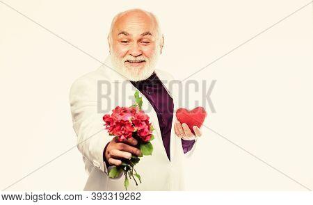 This Is For You. Gentleman Concept. True Gentleman. Handsome Bearded Man Wear Tuxedo. Romance And Da