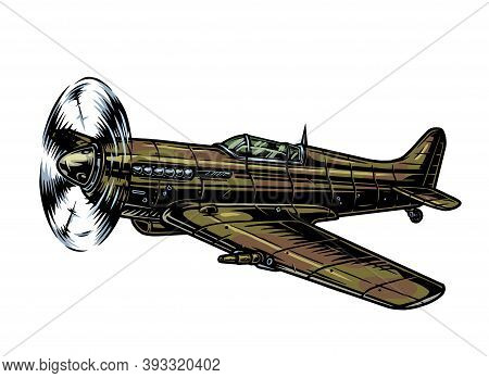Retro Flying Fighter Plane Colorful Concept In Vintage Style Isolated Vector Illustration