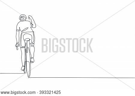 One Continuous Line Drawing Of Young Sporty Man Bicycle Racer Raise His Hand To Celebrate The Finish