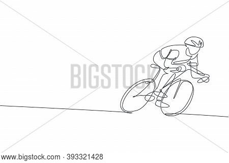 One Single Line Drawing Young Energetic Man Bicycle Racer Focus Training His Speed Vector Graphic Il