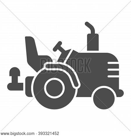 Tractor Without Roof Solid Icon, Heavy Equipment Concept, Agricultural Truck Sign On White Backgroun