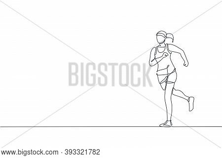 One Single Line Drawing Of Young Happy Runner Woman Exercise To Improve Stamina Vector Graphic Illus