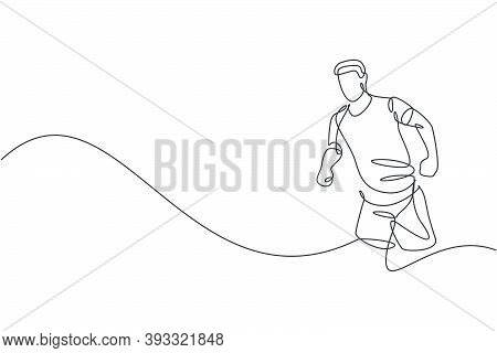 One Single Line Drawing Of Young Happy Runner Man Exercise To Improve Stamina Graphic Vector Illustr
