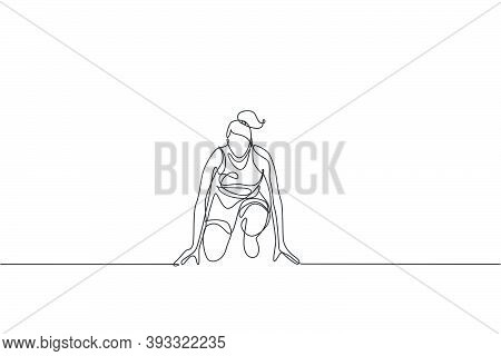 One Single Line Drawing Of Young Energetic Woman Runner Ready To Sprint At Start Line Vector Illustr
