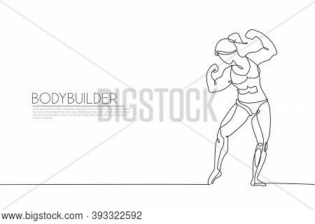 Single Continuous Line Drawing Of Young Muscular Model Woman Bodybuilder Posing Elegantly. Fitness G