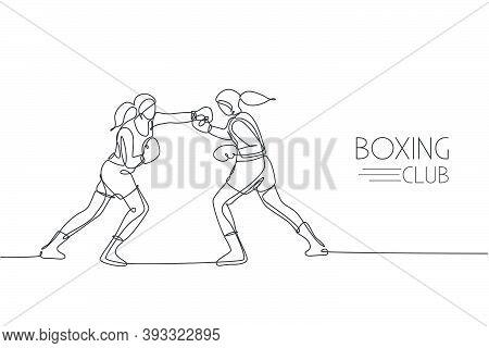 Single Continuous Line Drawing Of Two Young Agile Women Boxer Sparring In Boxing Ring. Fair Combativ