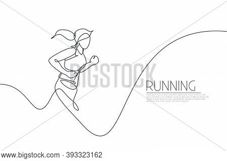 One Single Line Drawing Of Young Energetic Woman Runner Jogging Run Graphic Vector Illustration. Ind