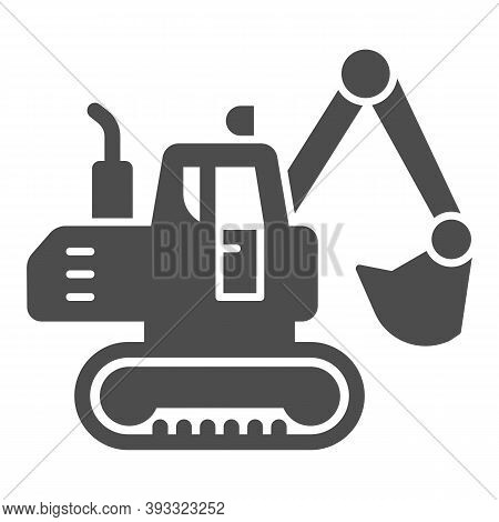 Crawler Excavator Solid Icon, Heavy Equipment Concept, Hydraulic Excavator Truck Sign On White Backg