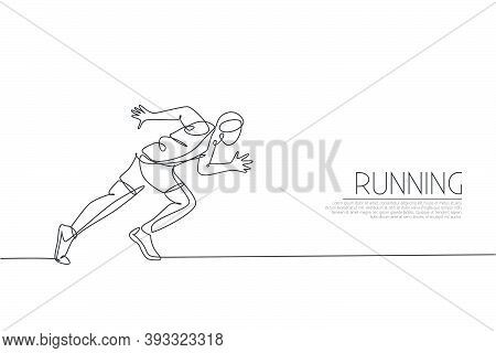 Single Continuous Line Drawing Of Young Agile Man Runner Focus To Sprint Run. Individual Sport, Comp