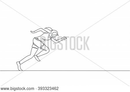 One Single Line Drawing Young Energetic Woman Runner Focus To Sprint Vector Illustration Graphic. In