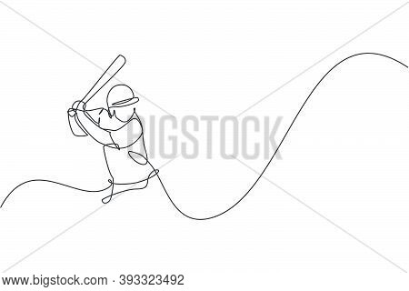 Single Continuous Line Drawing Of Young Agile Man Baseball Player Focus Practice To Hit The Ball. Sp