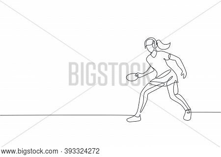 Single Continuous Line Drawing Of Young Agile Woman Table Tennis Player Hold The Ball. Sport Exercis