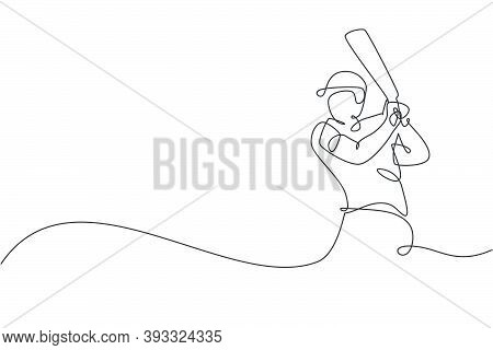 Single Continuous Line Drawing Of Young Agile Man Cricket Player Practicing Hit The Ball At Field Ve