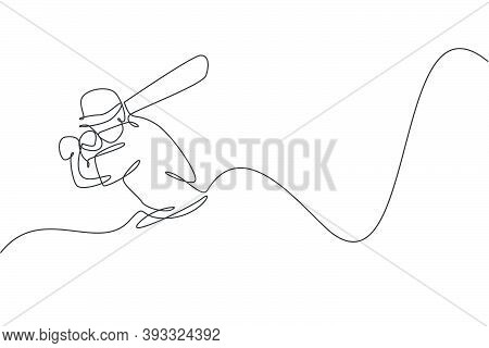 One Single Line Drawing Of Young Energetic Man Cricket Player Train To Swing Cricket Bat At Court Ve