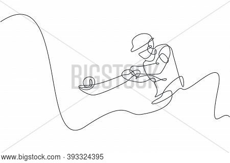 Single Continuous Line Drawing Young Agile Indian Man Cricket Player Hit The Ball Precisely Vector G