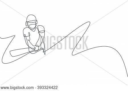 One Continuous Line Drawing Of Young Happy Man Cricket Player Hit The Ball To Home Run Vector Illust