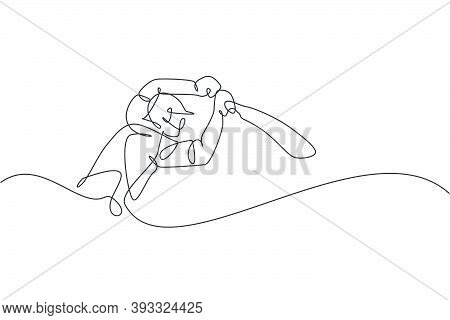 One Single Line Drawing Of Young Energetic Man Cricket Player Stance To Hit The Ball Vector Illustra