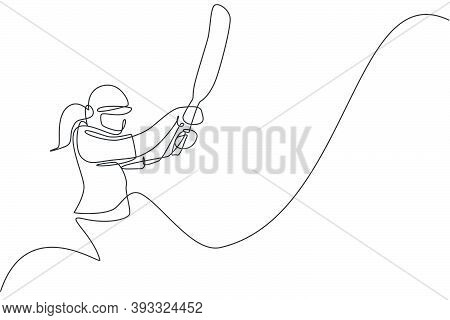 Single Continuous Line Drawing Of Young Agile Woman Cricket Player Stance Focus To Hit The Ball Vect