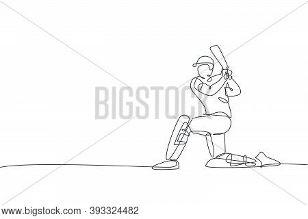 One Single Line Drawing Of Young Energetic Man Cricket Player Stand With Knee On The Ground Vector I