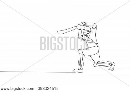 One Single Line Drawing Of Young Energetic Man Cricket Player Focus To Receive Ball From Pitcher Vec