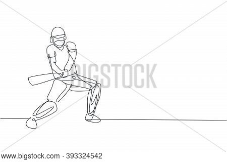 Single Continuous Line Drawing Of Young Agile Man Cricket Player Standing Ready To Hit The Ball Vect
