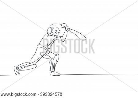 One Single Line Drawing Of Young Energetic Man Cricket Player Standing To Hit The Ball Vector Illust