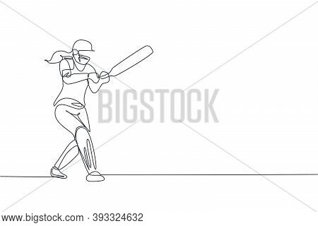 Single Continuous Line Drawing Young Agile Woman Cricket Player Successfully Hit The Ball Vector Gra