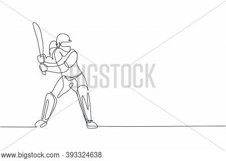 One Single Line Drawing Of Young Energetic Woman Cricket Player Stance Standing To Receive A Ball Ve