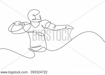 One Continuous Line Drawing Young Powerful American Football Player Posing To Pass The Ball For Comp