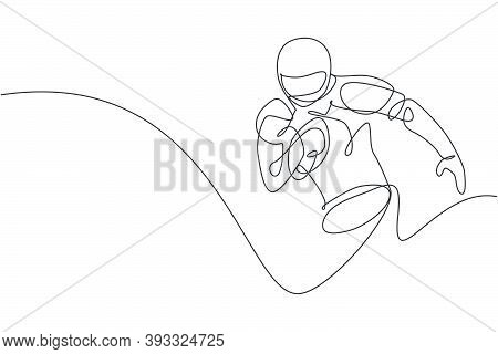 One Single Line Drawing Of Young Energetic Man American Football Player Running Hold The Ball To Rea