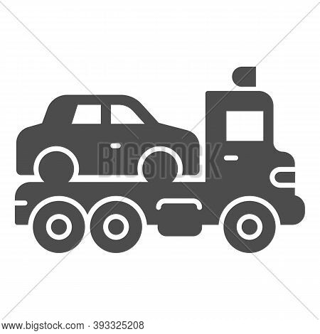 Tow Truck With Car Solid Icon, Heavy Equipment Concept, Evacuator Car Sign On White Background, Car
