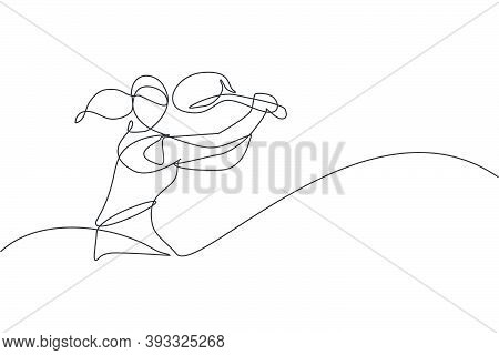 One Continuous Line Drawing Of Young Happy Female Tennis Player Hit The Ball. Competitive Sport Conc