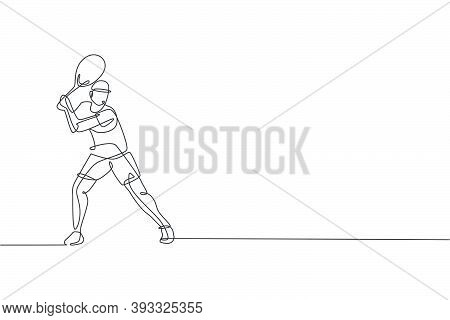 One Continuous Line Drawing Of Young Happy Tennis Player Concentrate To Hit The Ball. Competitive Sp
