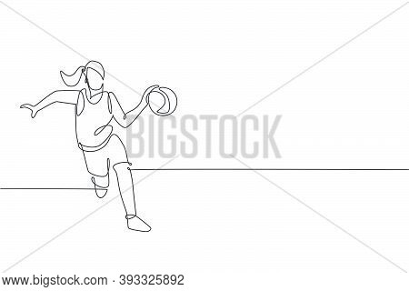 One Continuous Line Drawing Of Young Basketball Woman Player Running And Dribbling A Ball. Competiti
