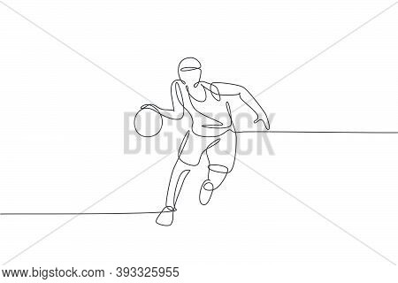 Single Continuous Line Drawing Of Young Agile Basketball Player Dribbling The Ball. Competitive Spor