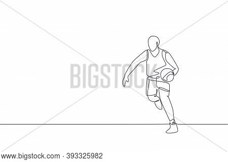 Single Continuous Line Drawing Of Young Healthy Basketball Player Dribbling A Ball. Competitive Spor