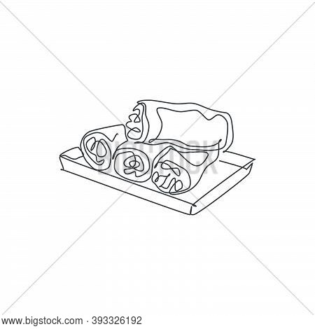 One Single Line Drawing Of Fresh Asian Spring Rolls Logo Graphic Vector Illustration. Chinese Snack