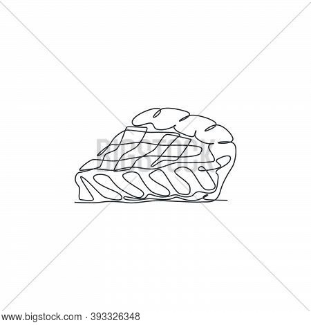 One Single Line Drawing Of Fresh Sliced Apple Pie Logo Graphic Vector Illustration. Pastry Bakery Fo