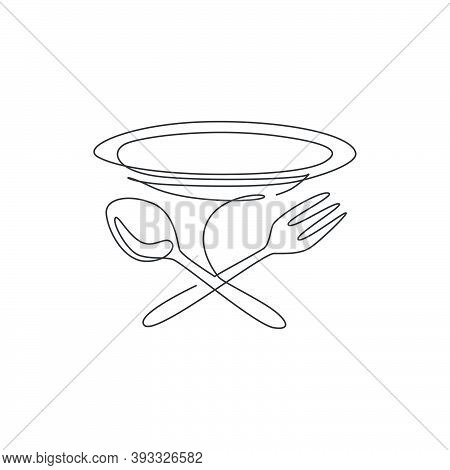Single Continuous Line Drawing Stylized Plate, Fork And Spoon For Cafe Logo Label. Emblem Elegant Re